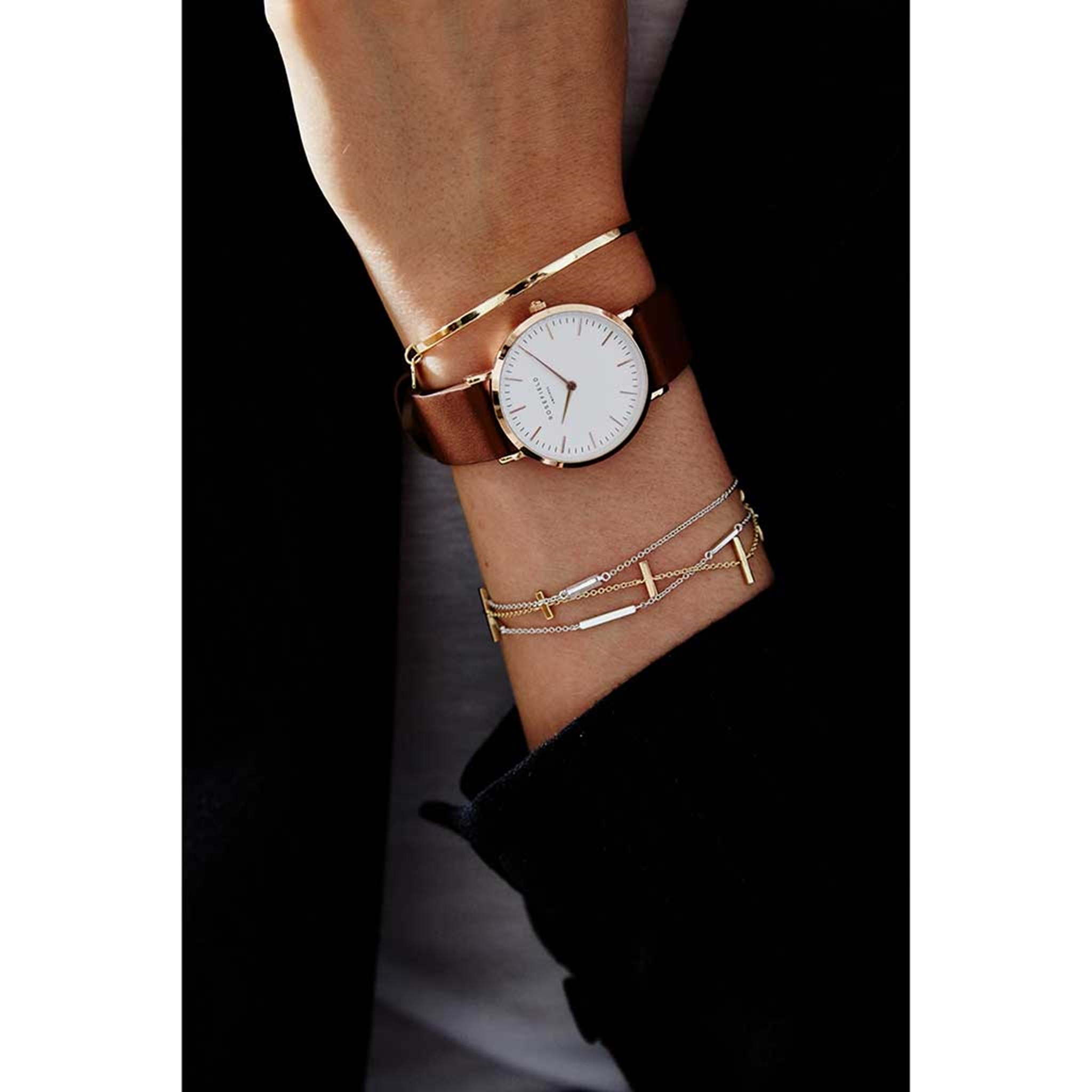 Rosefield The Tribeca White Brown Rose Gold - TWBRRC-T55